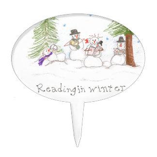 Snowman Reading In Winter Cake Topper