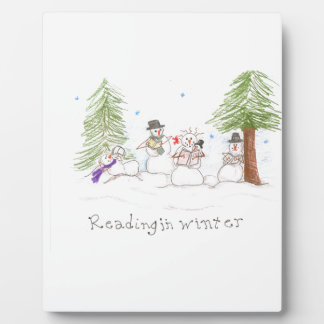 Snowman Reading In Winter Plaque