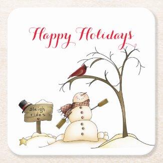 Snowman Red Bird Tree Sleigh Rides Paper Coaster