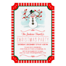Snowman & Red Birds Family Christmas Invite