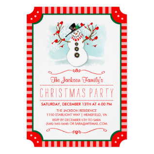 Snowman & Red Birds Family Christmas Invite at Zazzle