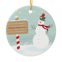 Snowman Red Birds From Our House To Yours Ceramic Ornament