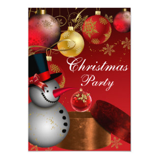 Snowman Red Gold Christmas Party Invitation
