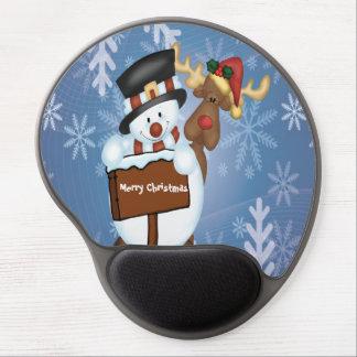 Snowman & Reindeer Customizable Gel Mouse Pad