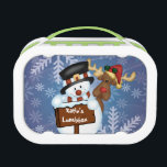 """Snowman &amp; Reindeer Customizable Lunch Box<br><div class=""""desc"""">Customizable Merry Christmas sign with a snowman in a top hat and an adorable reindeer in a Santa hat,  against a blue snowflake background</div>"""