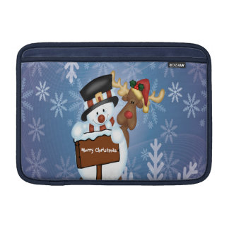 Snowman & Reindeer Customizable MacBook Sleeve