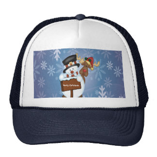 Snowman & Reindeer Customizable Trucker Hat