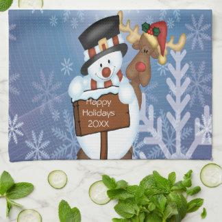Snowman & Reindeer Hand Towel