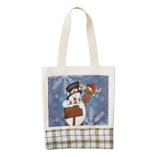 Snowman & Reindeer Zazzle HEART Tote Bag