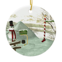 Snowman Relocation Fund Ceramic Ornament