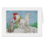 Snowman Rooster,  Raccoon and Bunny Friends Greeting Card