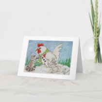 Snowman Rooster,  Raccoon and Bunny Friends Holiday Card