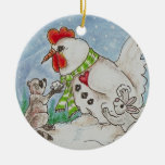 Snowman Rooster, Raccoon and Bunny Wildlife Art Ceramic Ornament