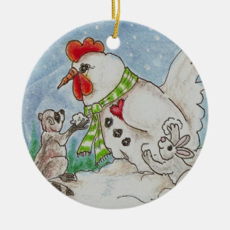 Snowman Rooster, Raccoon and Bunny Wildlife Art Double-Sided Ceramic Round Christmas Ornament