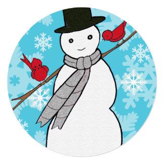 "Snowman round Holiday Party Invite 5.25"" Square Invitation Card"