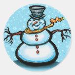Snowman Round Sticker