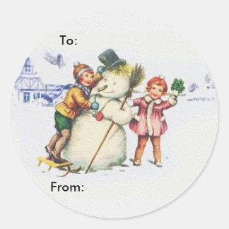 Snowman Round Stickers