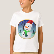 Snowman Santa Cartoon T-Shirt