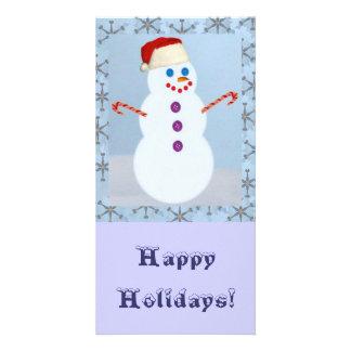 Snowman Santa with Border, Card