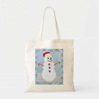 Snowman Santa with Border Tote Bag