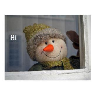 "snowman says ""hi"" postcard"