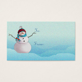 SNOWMAN, SCARF & HAT by SHARON SHARPE Business Card
