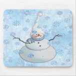 SNOWMAN, SCARF & SNOW HAT by SHARON SHARPE Mouse Pads