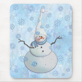SNOWMAN, SCARF & SNOW HAT by SHARON SHARPE Mouse Pad