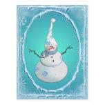 SNOWMAN, SCARF & SNOW HAT by SHARON SHARPE Postcard