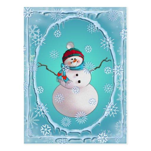 SNOWMAN, SCARF & SNOW HAT by SHARON SHARPE Post Card