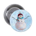 SNOWMAN, SCARF & STOCKING CAP by SHARON SHARPE 2 Inch Round Button