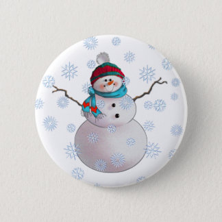 SNOWMAN, SCARF & STOCKING CAP by SHARON SHARPE Button