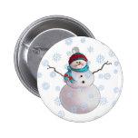 SNOWMAN, SCARF & STOCKING CAP by SHARON SHARPE Pinback Button
