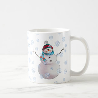 SNOWMAN, SCARF & STOCKING CAP by SHARON SHARPE Classic White Coffee Mug