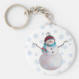 SNOWMAN, SCARF & STOCKING CAP by SHARON SHARPE Keychain