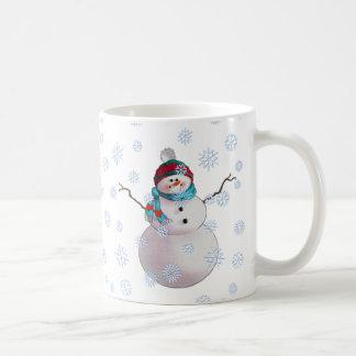 SNOWMAN, SCARF & STOCKING CAP by SHARON SHARPE Classic White Coffee Mug