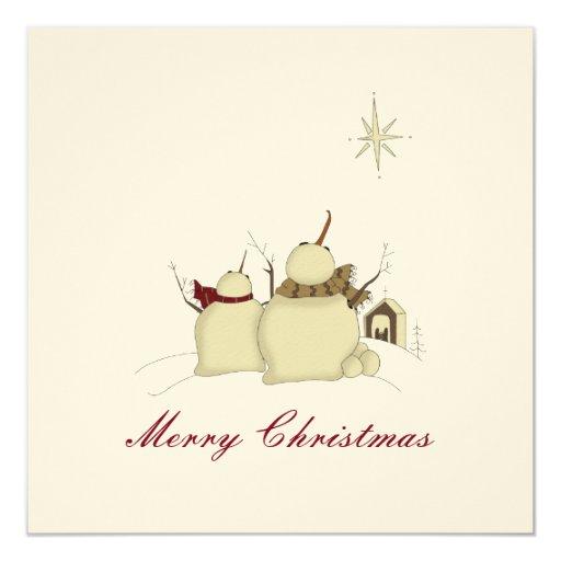 Snowman Scene :: Merry Christmas Card 13 Cm X 13 Cm Square Invitation Card