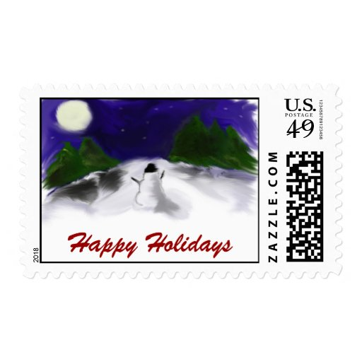 Snowman Scene Postage Stamp