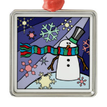 Snowman Scenery Metal Ornament