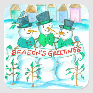 Snowman Season's Greetings Christmas Square Sticker