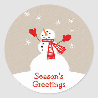 Snowman Season's Greetings Christmas sticker