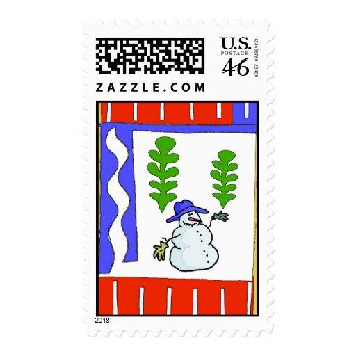 Snowman Season's Greetings Postage Stamps | Zazzle