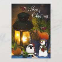 Snowman, Sheep and Birds Merry Christmas Card