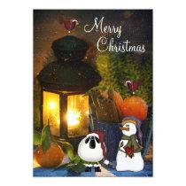 Snowman, Sheep and Birds Merry Christmas Card