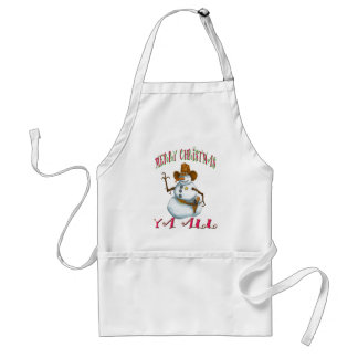snowman sherriff MerryChrsts Ya all Adult Apron