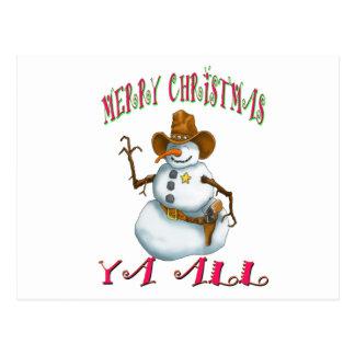 snowman sherriff MerryChrsts Ya all Postcard