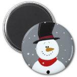 Snowman - Silver 2 Inch Round Magnet
