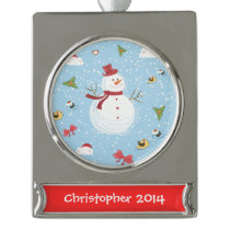 Snowman Silver Plated Banner Ornament