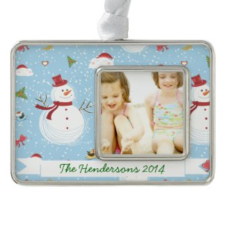 Snowman Silver Plated Framed Ornament