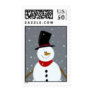 Snowman - Silver Postage at Zazzle
